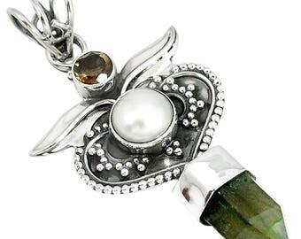 Natural Laboradite Pearl and Smoky quartz Sterling Silver Pendant