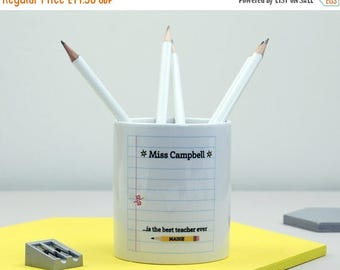 ON SALE Teacher Gift | Best Teacher Desk Tidy |  Present for Teacher