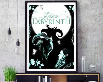 Pans Labyrinth Poster Illustration- movie by Guillermo del Toro - fantasy, horror, fan ,gift, poster, for him,  her, fairies, faun, monster