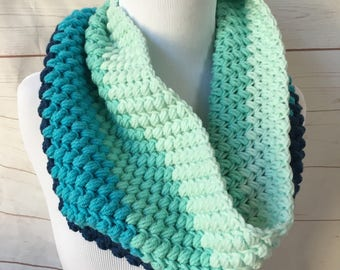 gifts for her - blue Crochet cowl scarf - chunky cowl - crocheted scarf - winter scarf - thick scarf  - christmas gift for her