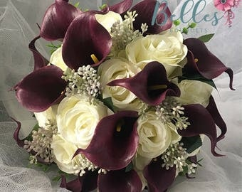 Stunning Aubergine Purple Artificial Calla Lily and Ivory Rose Brides Wedding Bouquet