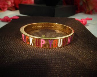 "Reduced - Vintage Kate Spade Multi Colored Bangle Bracelet that says ""Kick Up Your Heels"" in the Original Kate Spade Brown Gift Bag."