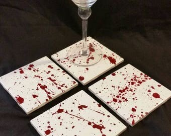 handpainted blood-splatter ceramic drink coasters & wall art