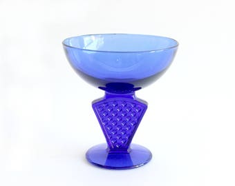 Mid Century Candy Dish, Cobalt Blue Glass Bowl