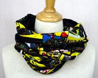 Choker / snood jersey pattern new york taxis and minki flannel blanket