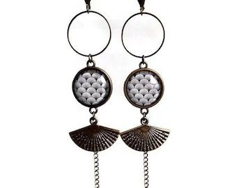 long bronze earrings * japanese spring * spring range waves Japan blue grey graphic glass cabochon