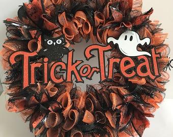 Halloween Wreath,Trick or Treat Wreath, Seasonal Wreath, Door Wreath