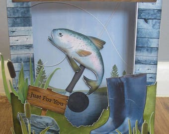 Handmade 3d fishing Birthday / Fathers day card