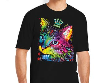 Cat with a Crown T-Shirt, Cat T-Shirts, Cat Tees, Cat Tee, Cat, Cat Shirt, Cat T-Shirt, Colorful Cat T-Shirts, Colorful Cat Tee