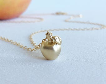 Gold Apple Charm Necklace, Small Matte Gold Apple Pendant 14K Gold Fill Chain Necklace, Simple Everyday Necklace, Fruit Jewellery