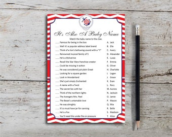 It's Also A Baby Name, Baby Shower Game, Shower Game, Red Nautical Theme, Anchor, Compass Rose, Neutral, Printable, Instant Download T649H
