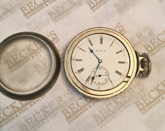 Antique Elgin Pocket Watch with a Keystone Silveroid Case, ser # 12129141, dated 1906, 16S, 15 Jewels, Not Running