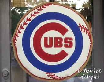Chicago Cubs Baseball Burlap Door Hanger
