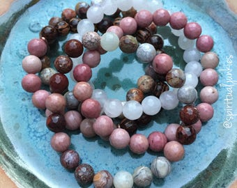 Unconditional Love, Self-Worth + Forgiveness | Spiritual Junkies |Yoga + Mediation | Stack of 5 Mala Bracelets