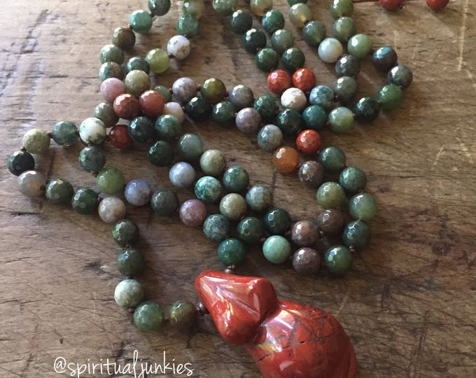 108 Bead Handknotted Faceted Indian Agate, Jasper + Red Jasper Goddess Pregnant Mama Belly Spiritual Junkies Yoga and Meditation Mala