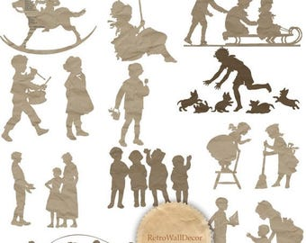 40% OFF SALE Children Silhouettes Cut From Paper Clip Art , Girls and Boys  Buy 2 Get 1 FREE