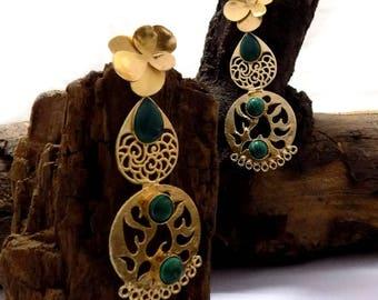 Designer earring,filigree earring,long earring,gift for her,traditional & ethnic earring,gemstone earring