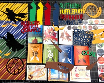 Harry Potter Wizard Quidditch Scrapbook Kit. Universal Studios Wizarding World paper, die cuts, Project Life, Gryfinndor Slytherin Ravenclaw