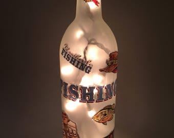 I'd Rather Be Fishing Wine Bottle Light