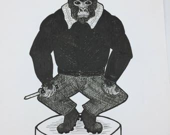 Gorilla Goon gorilla Original marker ink illustration