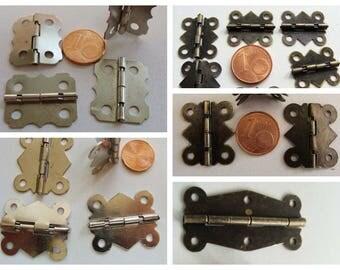 CHARNIERES petits gonds pour cartonnage boite métal argenté ou bronze quincaillerie sans visserie