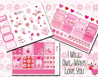 I Will Owl-Ways Love You - Valentines Day, Owl Themed, Seasonal Planner Stickers, for ECLP, Happy Planner, Filofax, Kikki.K etc