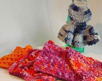 Crochet Washcloth, Dishcloth Cotton Washable Eco-friendly Purple and Orange 4-pack Cloths House Warming Gift Set Bridal Shower Wedding RTS