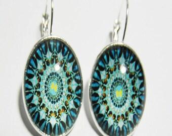 Black and blue mandala earrings psychedelic