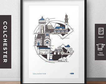 Colchester - Letter Print/Tea Towel // Essex Architecture // Statement Poster // Gifts for new home // Handmade Illustration // Landmarks