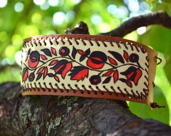 Leather bracelet, ethnic, ukrainian ornament, wristband, armlet, wristlet