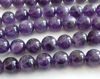 20 natural 10 mm with hole 1 mm purple amethyst beads