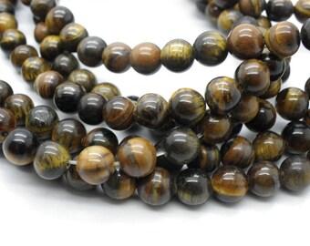 60 round beads 6 mm Tiger eye natural 6 mm beige Brown