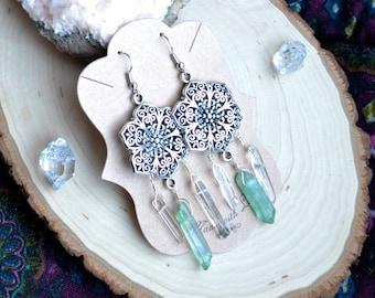Flower Earrings - Flower Jewelry - Dangle Earrings - Tribal Earrings - Tribal Jewelry - Aura Quartz - Crystal Point Earrings - Crystals