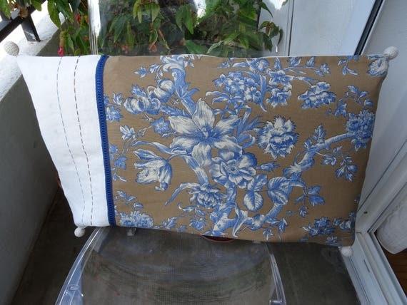 Grande housse de coussin vintage toile de jouy lin for Grande housse de coussin