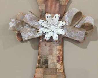 Decorative Hanging Cross, Collage Wall Cross, Unique Wall Cross, Wooden Decor Cross, Decor Cross
