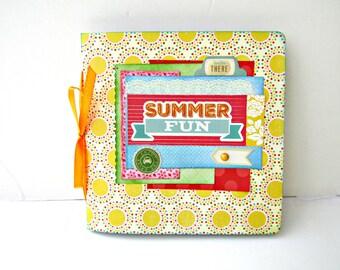 Summer photo album, Scrapbook mini album, Premade album, Square album 6x6, Memories photo book, Handmade mini album, Vacation mini album