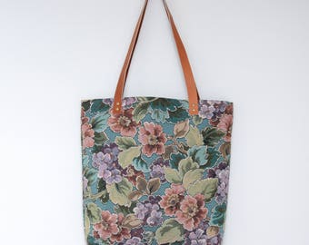 Susana Tote Bag . Tote Bag . Floral Bag . Tapestry Tote . Carry All Tote . Tote Bag with Leather Straps . Shoulder Bag
