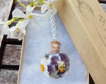 Mix dried flowers necklace, romantic necklace