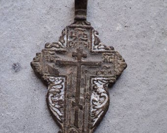 Antique Big Cross Old Cross. Vintage Bronze Cross, archaeological jewels, 17 century