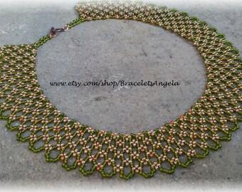 Necklace, handmade, Czech glass seed beads (#393).
