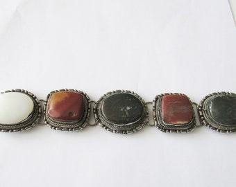 Vintage Stone Link Silver Bracelet Chunky