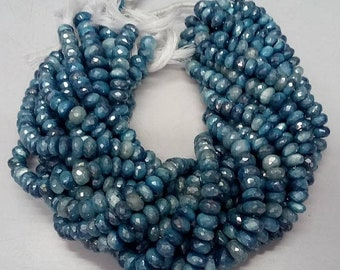 """50% OFF 1 Strands Natural Rainbow Moonstone Mystic Blue Coated Faceted Rondelle - Blue Moonstone Rondelle Beads Size 9-11mm 13"""" Long Strand"""
