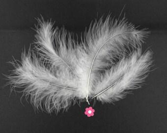 x 10 10cm white marabou feather (65F)
