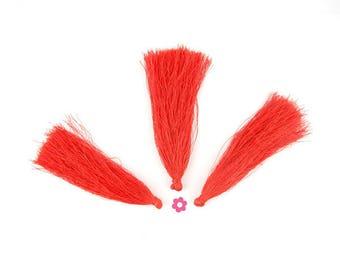 x 4 large 90mm (251D) orange red tassel