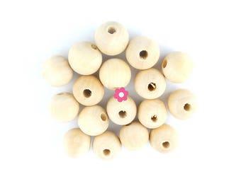 wood x 300 beads round 10mm (17)