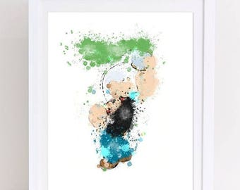 70%OFF Popeye the sailor man printable poster watercolor popeye poster printable nursery popeye watercolor print nursery popeye print party