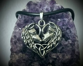 Pewter Wolf Heart Triquetra Necklace