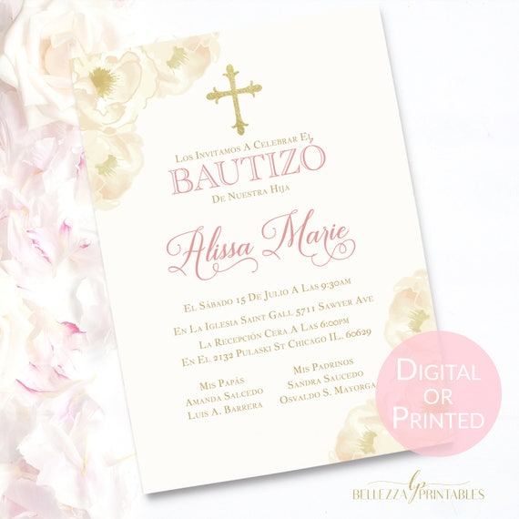 Invitaciones de bautizo invitaciones de bautizo nia Spanish