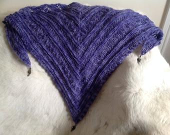 Shawl, Lightweight wrap, Mohair, Labradorite beads,