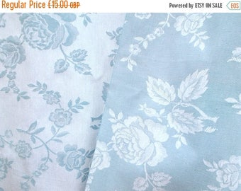 SALE 10% OFF Unused piece of Damask Ticking. Vintage French 1950's Blue & White Roses.  45 x 41 inches    (5433)